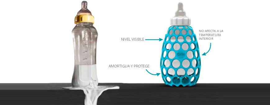 La funda o chaqueta Grip de biberón permite ver el nivel del líquido interno, no afecta a la temperatura interior del biberón y amortigua las caídas.