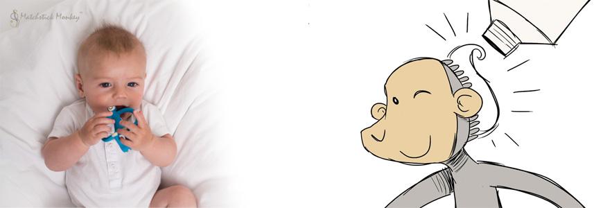 El mono Matchstick Monkey hace la función de mordedor y de cepillo de dientes para niños