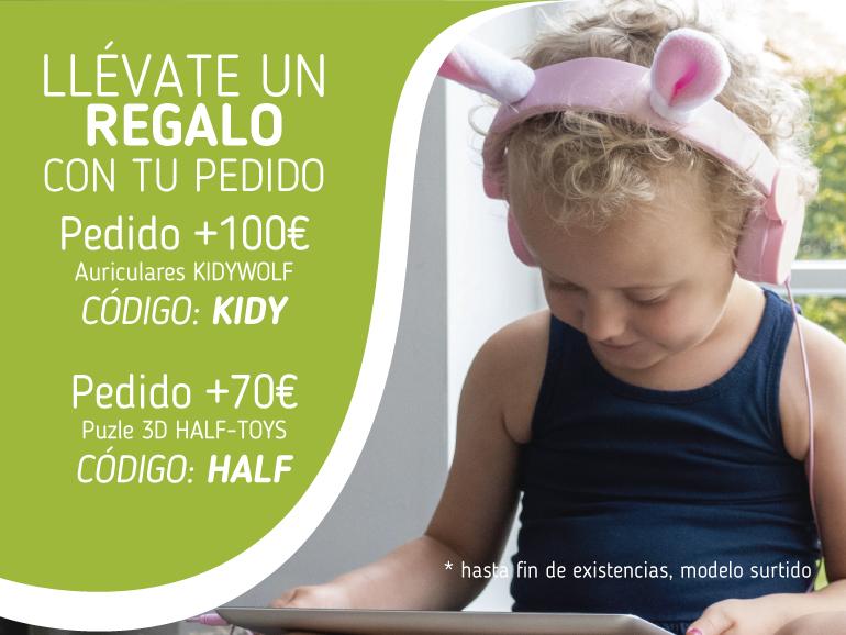 Llévate un regalo con tu pedido. Pedido +100€ Auriculares KIDYWOLF código KIDY. Pedido +70€ puzle 3D HALF-TOYS código HALF
